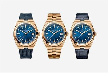 Image result for new vacheron constantin overseas rose gold blue dial three hander on rubber