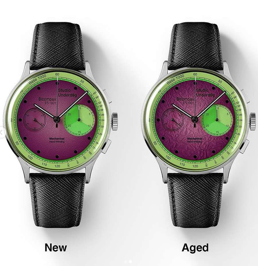 A picture containing indoor, green, watch Description automatically generated