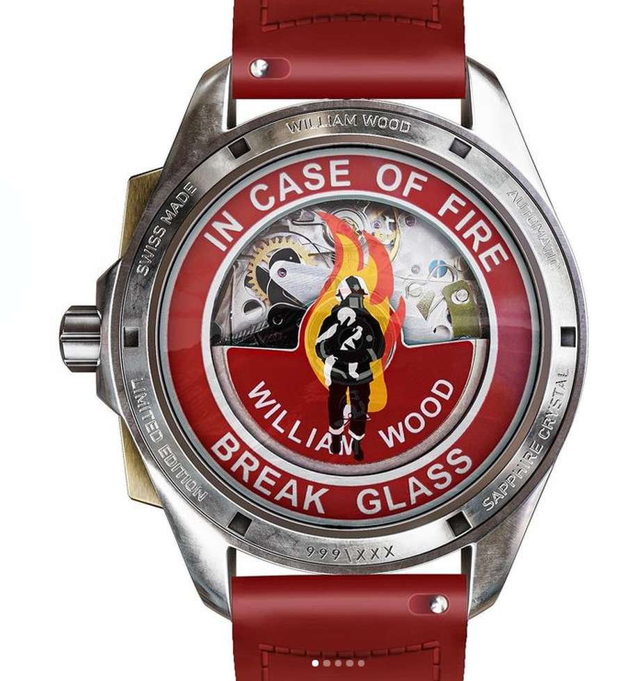A picture containing watch, red Description automatically generated